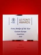 Forex Broker of the Year in Eastern Europe 2018 menurut Le Fonti Awards